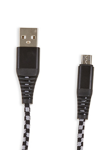 6 ft Micro USB Charging Cable,BLACK/WHITE,large