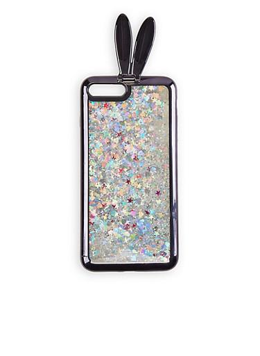 iPhone 8 Plus Glitter Bunny Case,BLACK,large