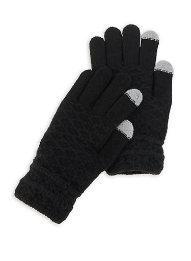 Textured Knit Gloves,BLACK,large