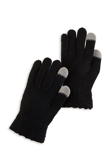 Textured Knit Gloves,BLACK,large