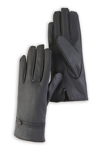 Faux Leather Gloves,BLACK,large