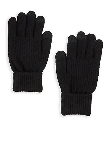 Popcorn Knit Texting Gloves,BLACK,large