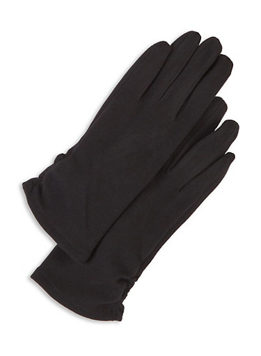Faux Suede Stretch Gloves,BLACK,large