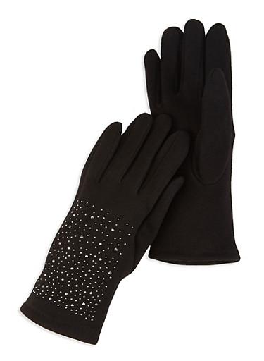 Fleece Lined Studded Gloves,BLACK,large