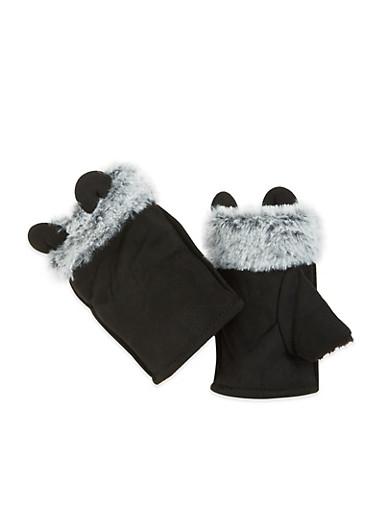 Animal Ear Fingerless Gloves,BLACK,large
