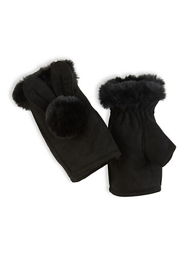 Fingerless Pom Pom Gloves,BLACK,large