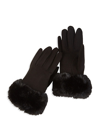 Faux Fur Cuffed Gloves,BLACK,large