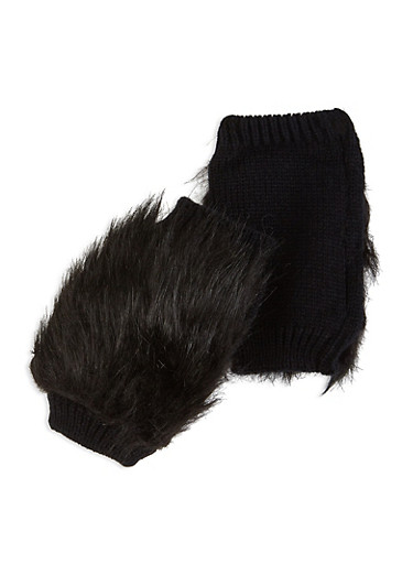 Faux Fur Knit Fingerless Gloves,BLACK,large