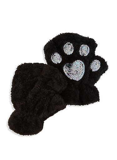 Sequin Fingerless Gloves,BLACK,large