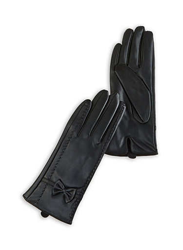 Faux Leather Bow Gloves,BLACK,large