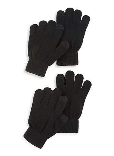 Set of 2 Touch Screen Gloves,BLACK,large