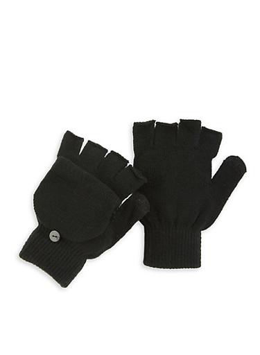 Fingerless Flip Mittens,BLACK,large