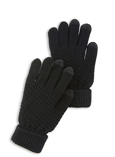 Touch Screen Knit Gloves,BLACK,large