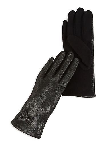 Shimmer Knit Gloves,BLACK,large