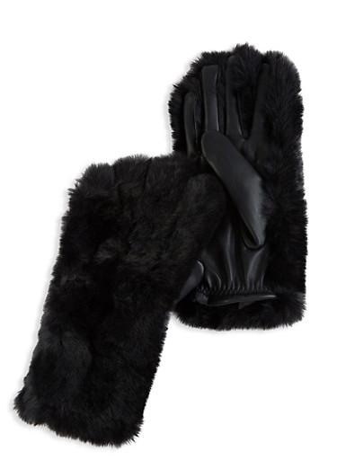 Faux Fur Gloves,BLACK,large