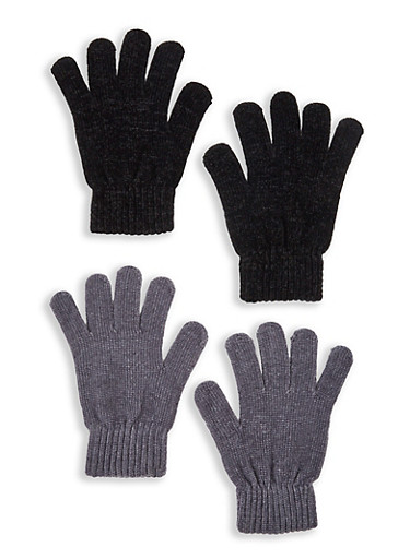 Set of 2 Chenille Gloves,GRAY,large