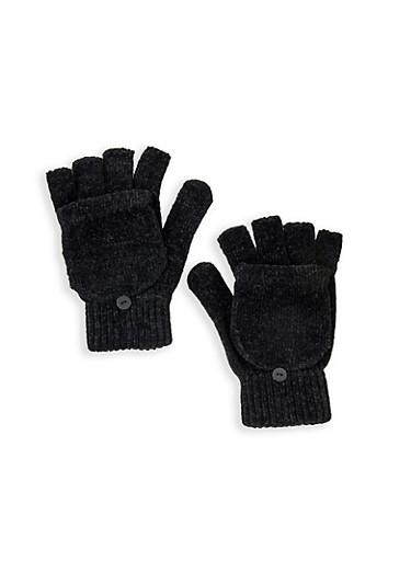Chenille Flip Mittens,BLACK,large
