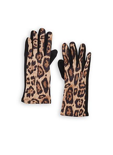 Leopard Gloves,BLACK,large