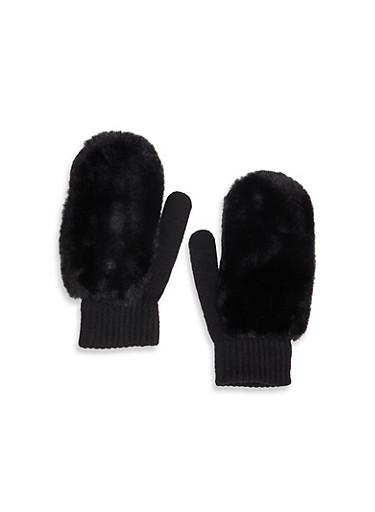 Faux Fur Knit Mittens,BLACK,large
