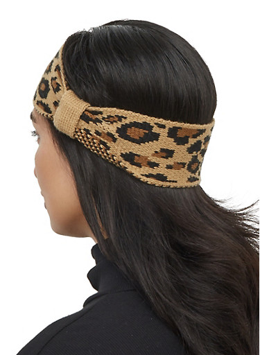 Leopard Headwrap and Gloves,BLACK,large