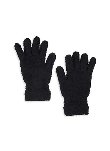 Solid Plush Gloves,BLACK,large