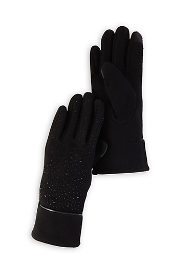 Studded Touchscreen Gloves,BLACK,large