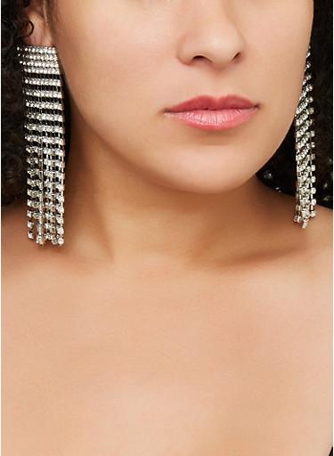 Rhinestone Chandelier Earrings,SILVER,large