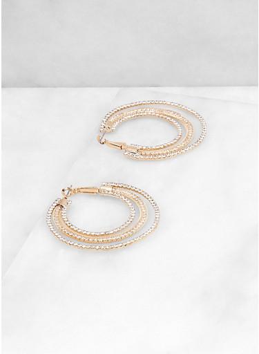 Triple Layer Rhinestone Hoop Earrings,GOLD,large