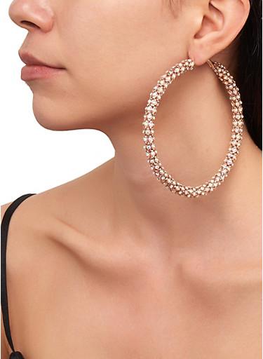 Rhinestone Metallic Mesh Hoop Earrings,GOLD,large