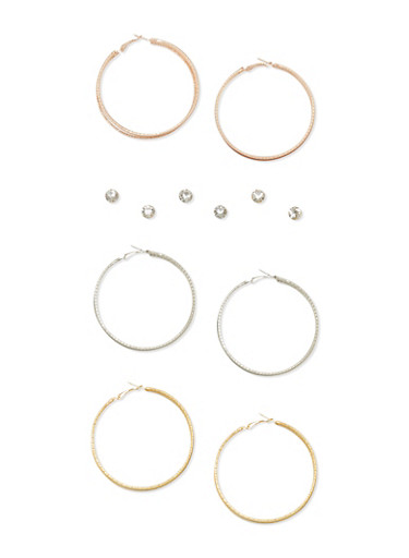 Set of 6 Glitter Hoop and Rhinestone Earrings,TRITONE (SLVR/GLD/HEMAT),large