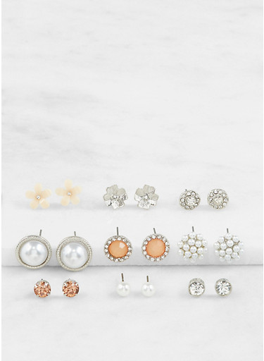 Assorted Faux Pearl Stud Earrings Set,SILVER,large