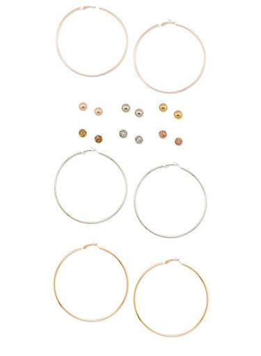 Set of 9 Solid Hoop and Ball Stud Earrings,TRITONE (SLVR/GLD/HEMAT),large