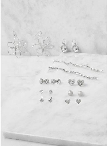 Assorted Set of Metallic Rhinestone Earrings,SILVER,large