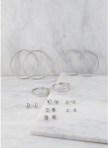 Assorted Set of Metallic Hoop and Stud Earrings,SILVER,large