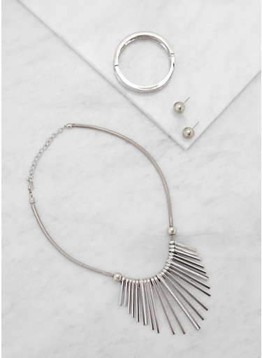 Glitter Stick Necklace with Cuff Bracelet and Earrings,SILVER,large