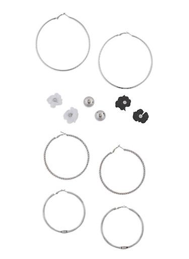 Set of 6 Textured Hoop and Stud Earrings Set,SILVER,large