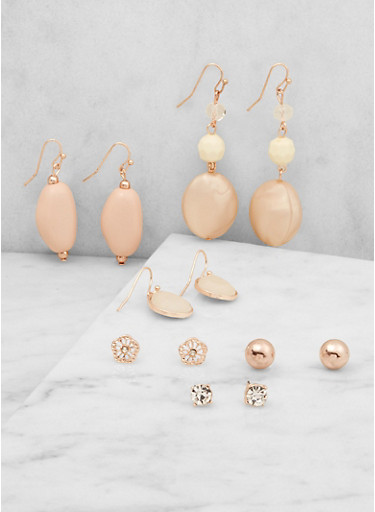 Assorted Stud and Drop Earrings Set,BLUSH,large