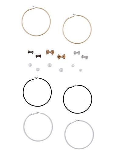 Set of 9 Hoop and Stud Earrings,BLACK/WHITE,large