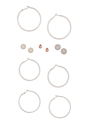Set of 6 Textured Hoop and Stud Earring Set,IVORY,large