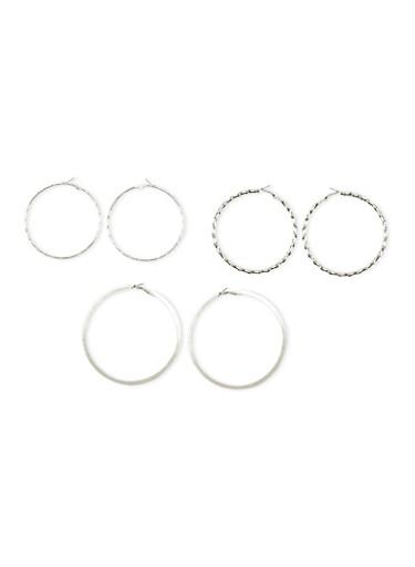 Set of 3 Multi Textured Hoop Earrings,SILVER,large