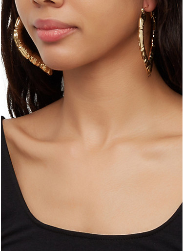 Heart Bamboo Earring Trio,GOLD,large