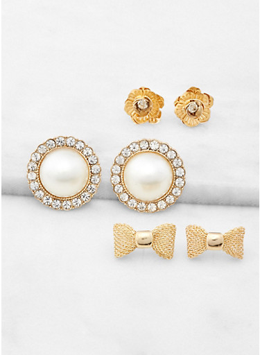 Faux Pearl and Bow Stud Earring Trio,GOLD,large