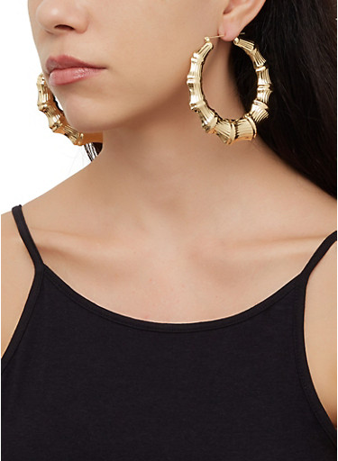 Variegated Bamboo Hoop Earring Trio,GOLD,large