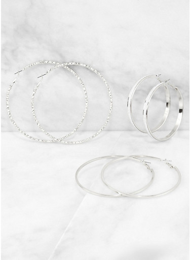 Glitter and Textured Hoop Earring Trio,SILVER,large