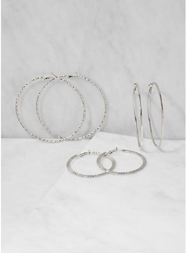 Textured Metallic Hoop Earrings Trio,SILVER,large
