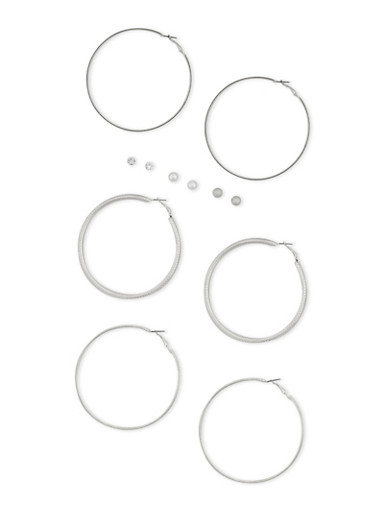 6 Piece Textured Hoop and Stud Earrings Set,SILVER,large
