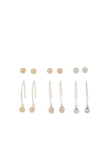Metallic Stud and Threader Earrings,MULTI COLOR,large