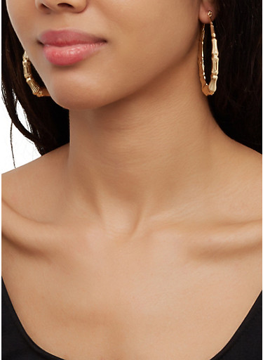 Star and Heart Bamboo Hoop Earring Trio,GOLD,large