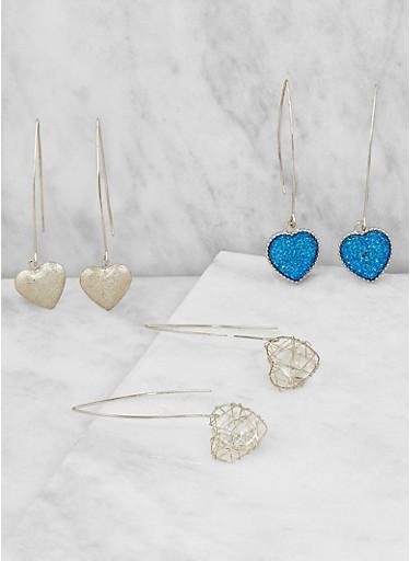 Heart Threader Earrings,SILVER,large