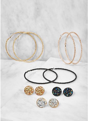 Set of Assorted Hoop and Stud Earrings,SILVER,large